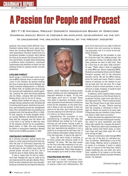 Concrete Products NPCA Chairmans Report Ashley Smith FEB 2018 2