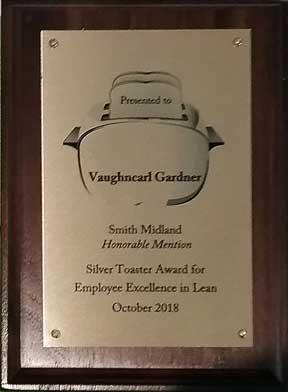 NE Lean Vaughncarl Gardner Silver Toaster 2018 award