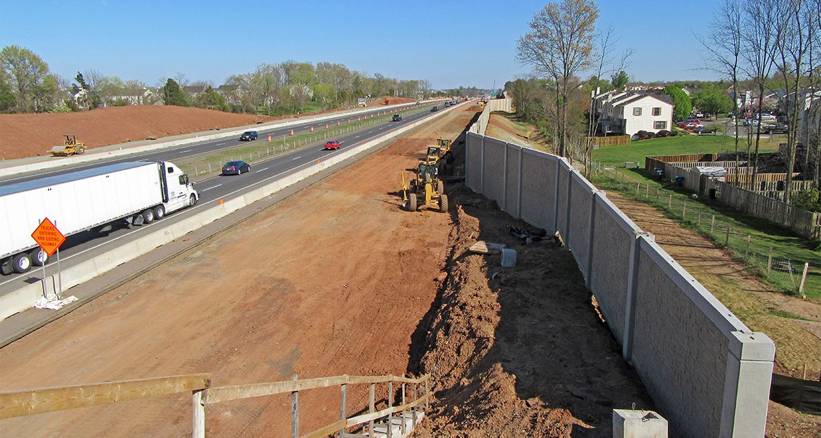 I-66 Sound Wall being installed