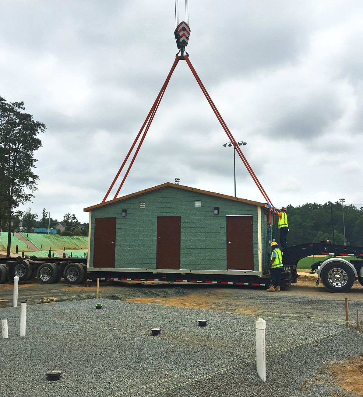 Easi-Set Restrooms delivered to Edgar Tillet Park in Loudoun County