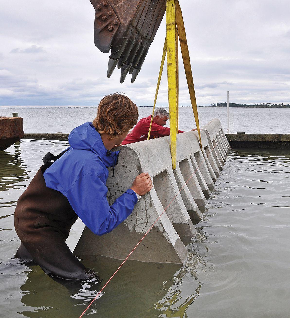 Beach Prisms being installed in Ingram bay