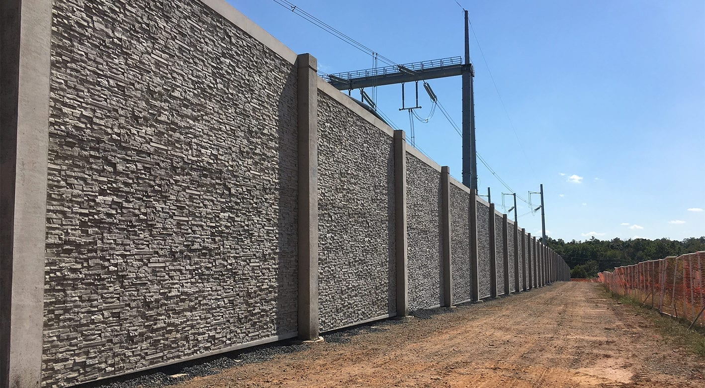 Industrial Sound Wall being installed
