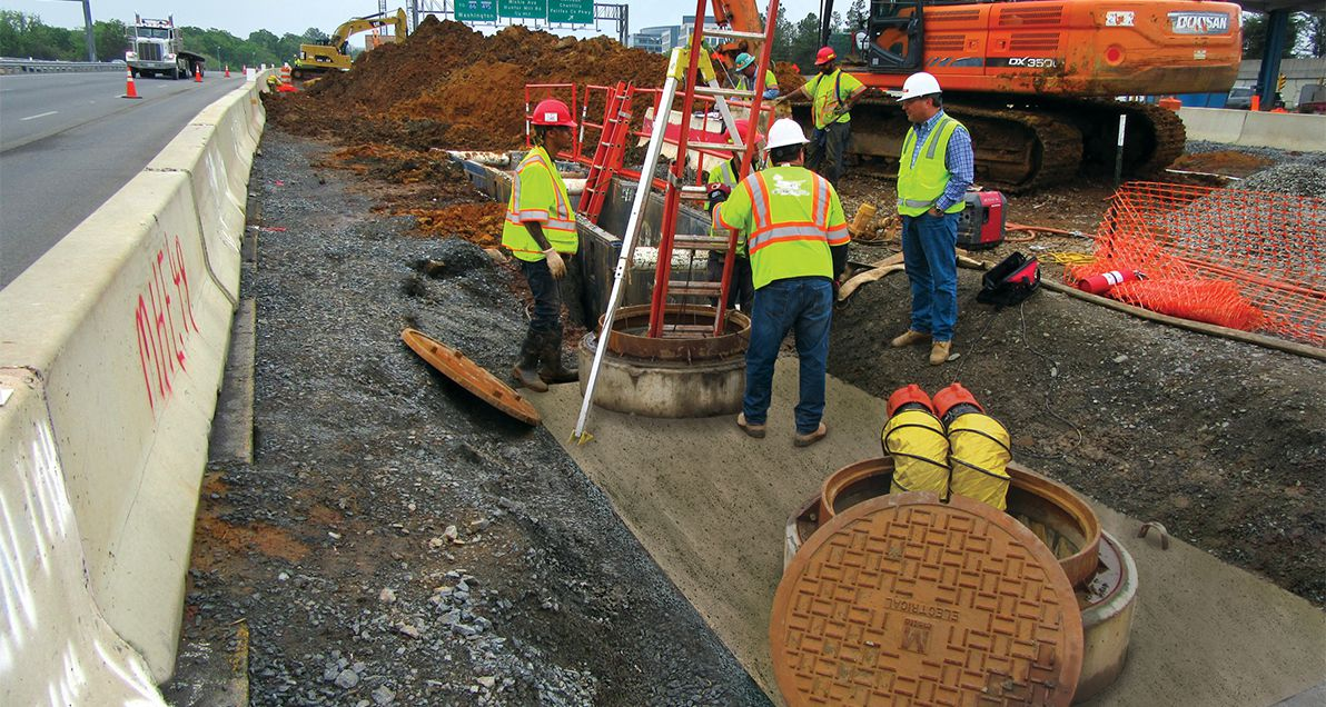 Manhole being installed for the Dulles Airport Metro Rail project