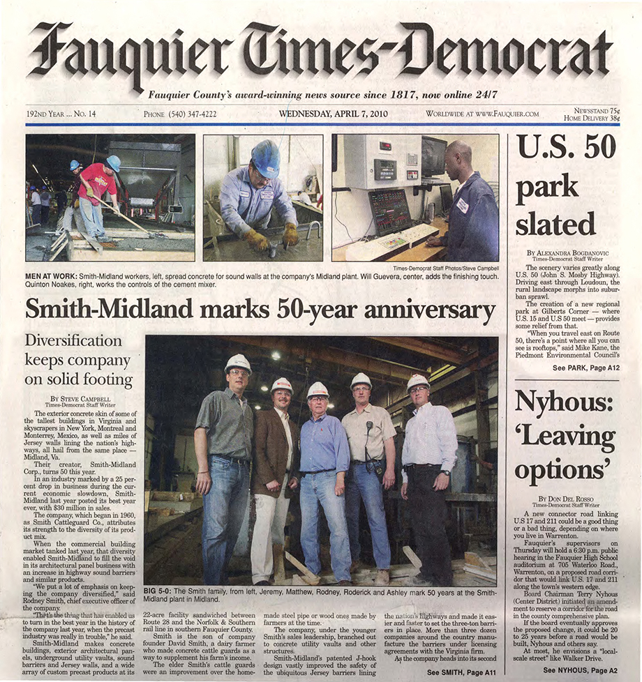 Smith-MIdland Fauquier Times cover story