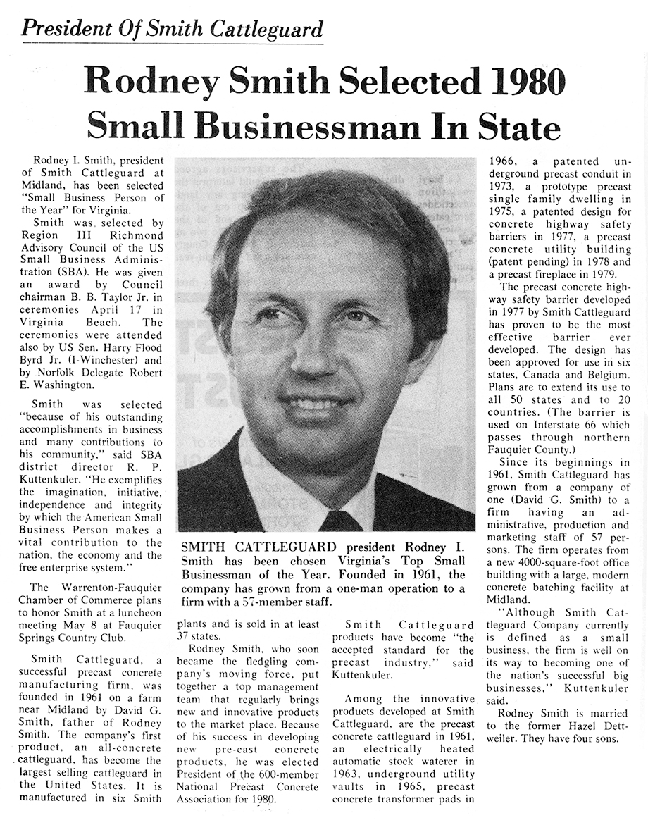 Rodney Smith Selected 1980 Small Businessman In State