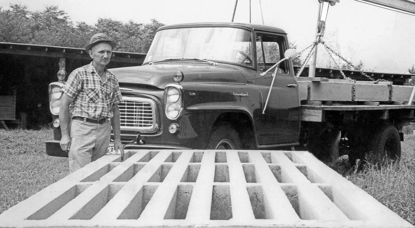 Historical shot from 1960 of David Smith and his truck