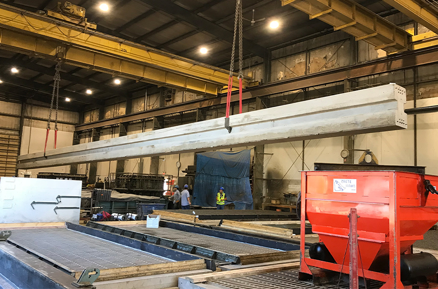 I-95 post in plant - longest ever prestressed post 66ft
