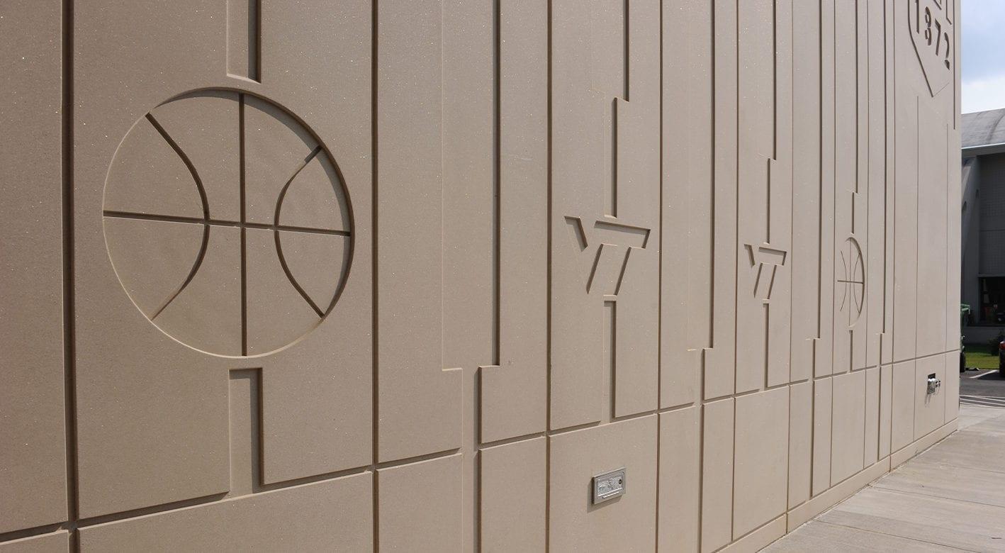 Archetectural Precast on wall at Virginia Tech
